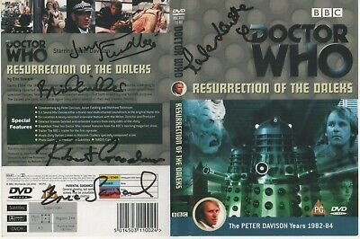 Dr Who Resurrection DALEKS DVD Cover Auto by 5 People