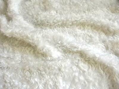 CURLY Teddy Faux Fur Fabric Material - BRIGHT WHITE