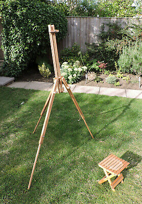 Artist Tripod Easel Stand Foldable Adjustable Portable Wooden with Stool