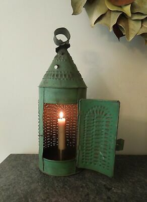 1800's AAFA Antique Primitive Punched American Colonial Lantern Green Paint