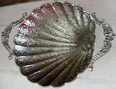 vintage silver plated footed embossed shell bowl