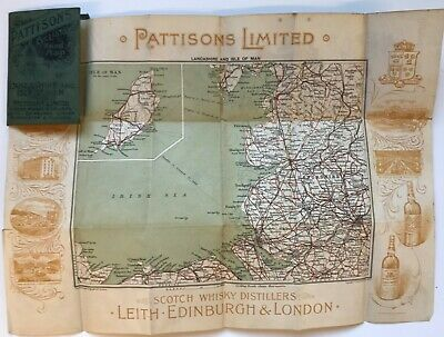Pattison's Whiskey Cyclists Road Map of LANCASHIRE Isle of Man c1900 *[17061]
