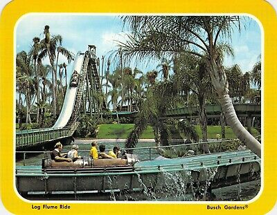 postcard 5.25x6.75 LOG FLUME RIDE - BUSCH GARDENS, FL