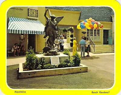 postcard 5.25x6.75  The OLD COUNTRY French statue - BUSCH GARDENS, VA