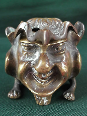 Victorian Gothic Bronze Grotesque Devil Imp Inkwell & French Pen Holder