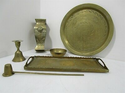 Vintage Brass Bell Candle Holder Tray Plate Floral & Dragon Fu Dog Design China