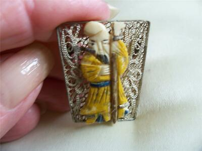 Antique Asian Chinese Silver Immortal Pin