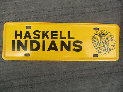 VINTAGE 1960s-70s HASKELL TEXAS HIGH SCHOOL INDIANS MASCOT LICENSE PLATE TOPPER