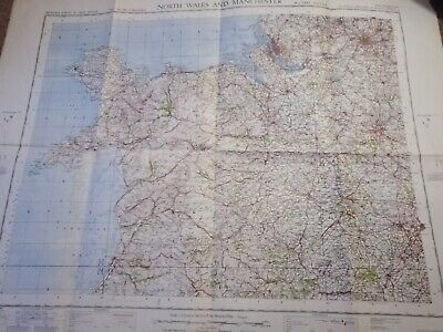 Ordnance Survey Cloth Map North Wales Military Edition Rare 1940 Manchester