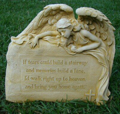 ANGEL Tears Memorial Inspirational Rock Concrete Home Garden Ornament Statue