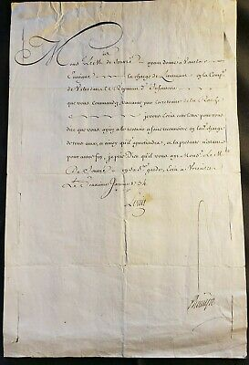 King Louis Xv Signed Military Order For Lieutenant Of Infantry Regiment - 1734