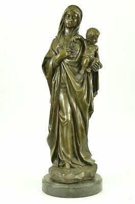 Marble Mother Virgin Mary Madonna Jesus Bronze Sculpture Statue Gift Decor Colle
