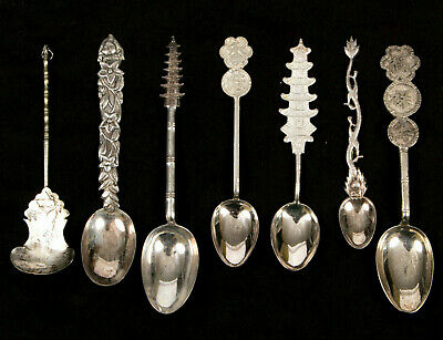 Fine Vintage Group Of Seven Chinese & Japanese Silver Spoons, No Reserve Price!