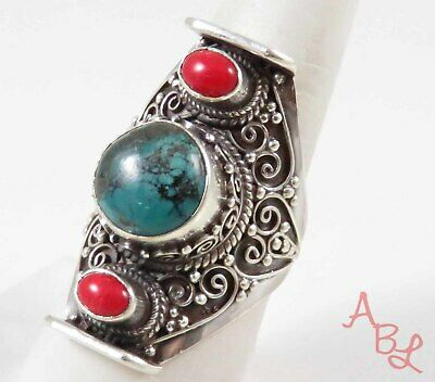 Sterling Silver Vintage 925 Navajo Turquoise & Coral Ring Sz 10 (19.6g) - 773252