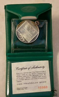 1969 USA First Step on Moon Sterling Silver (.925) Pendant w COA (ASW 0.43 oz)