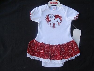 RED Bandana Western Cowgirl PONY One Piece Size 18 M Lace on Bottom SO Cute NWT