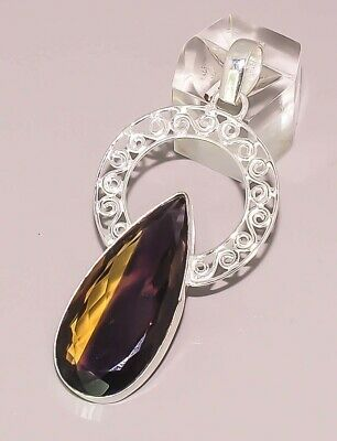 Faceted Ametrine Quartz 925 Sterling Silver Plated Pendant