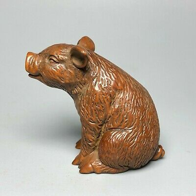 Old Collectible Boxwood Japanese Netsuke Zodiac Pig Vintage Wood Ornament Statue