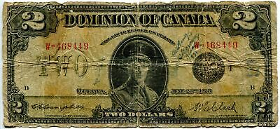 June 23, 1923 Dominion of Canada $2 Short Snorter WWII Bank Note (W-468449)