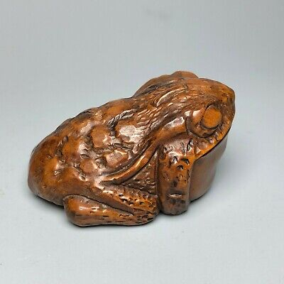 Japanese Netsuke Old Boxwood Carve Collectible Vintage Wealth Golden Toad Statue