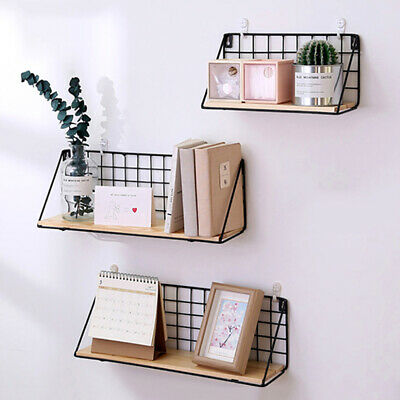 Industrial Wall Mounted Wire Metal Shelf Unit Floating Shelves Wood Rack Display