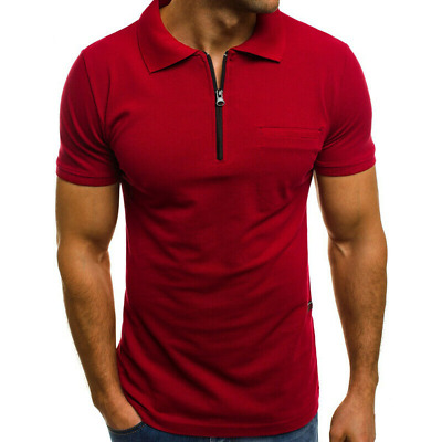 Plus Size Mens Summer Short Sleeve Zipper Neck Polo Shirts Casual Top T-shirt