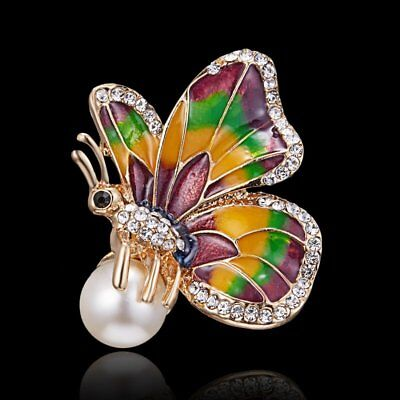 Pearl Crystal Brooch Pin Butterfly Insect Women Animal Breastpin Custume Jewelry