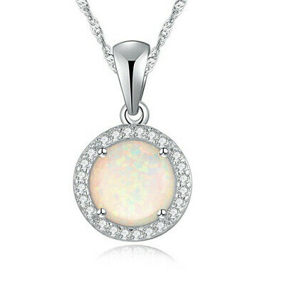 Fashion Woman 925 Silver Mermaid White Fire Opal Charm Pendant Necklace Chain