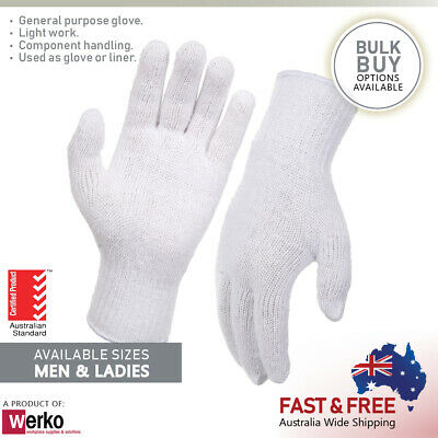 White Polyester / Cotton Knitted Gloves Poly-Cotton Gloves Handling Glove Liner