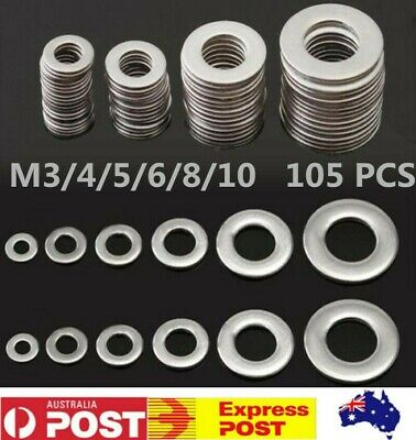 105 x STAINLESS STEEL WASHERS Metric Flat Washer Kit M3, M4, M5, M6, M8, M10