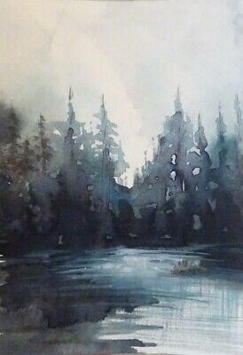 Moon Rise By The Lakeside- Original 100% Hand Painted Aceo Watercolor Painting