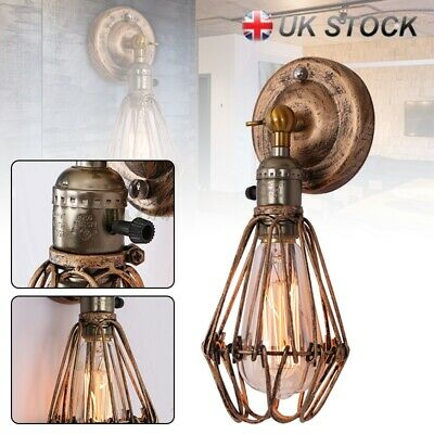 E27 Permo Retro Antique Industrial Iron Bird Cage Wall Light Up Down Lamp New