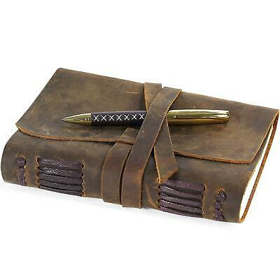 """Leather Journal Writing Vintage Handmade Notepads Notebook Men 7X5"""" Durable Soft"""