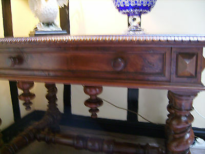 Beautiful Hand Carved Early 19Thc Antique French Yew Wood Table With Drawer