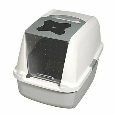 @ Catit Hooded Cat Litter Box Tray Grey Hygienic Easy Scoop Catflap Style