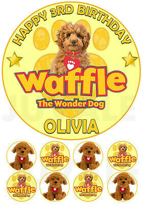 Waffle The Wonder Dog Personalised Edible Icing Cake Topper & 8 Cupcakes