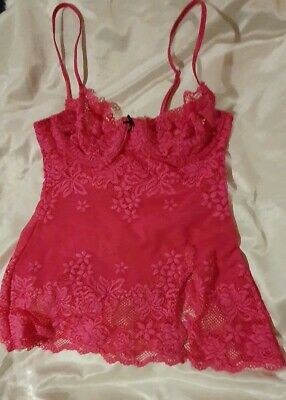 VICTORIA'S SECRET Size S Hot Pink Lace Cami with Adjustable Straps Underwire