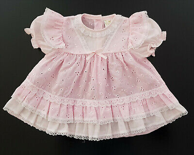 VINTAGE DRESS, 1970's - 80's, BABY (or REBORN DOLL) PINK BRODERIE ANGLAISE