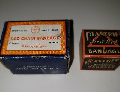 Red Chain and Plastrip Bandages Vintage First Aid including Contents