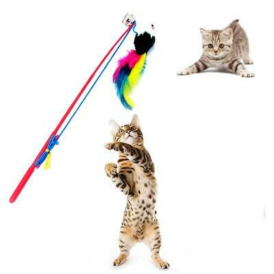 Cat Feather Mouse Stick Toy Funny Kitten Playing Rods Pet Interactive Toys #JT1