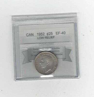 1952 Low Relief ,  Coin Mart Graded Canadian, 25 Cent, **EF-40**