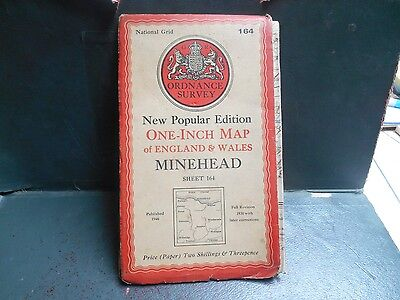 "vintage 1940s one inch paper O/S map nr164 ""Minehead"""