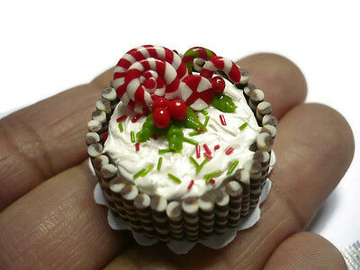 Sweet Chocolate Candy Canes Cake Dollhouse Miniature Food Bakery Christmas