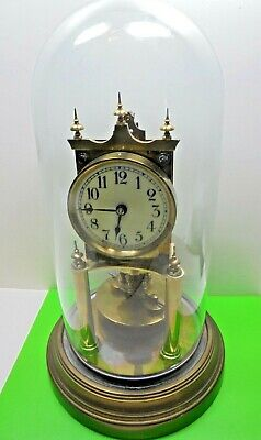 Antique Gustav Becker Torsion Pendulum Disc Anniversary Brass Mantel Clock A/F
