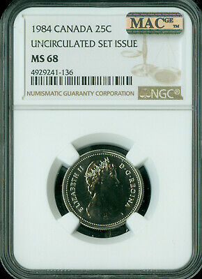 1984 Canada 25 Cents Ngc Mac Ms68 Pq Finest Registry Spotless *
