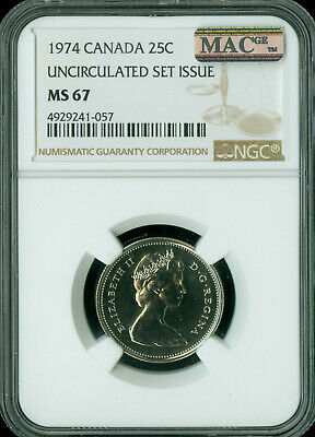 1974 Canada 25 Cents Ngc Mac Ms-67 Pq 2Nd Finest Grade Spotless *