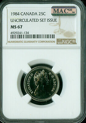 1984 Canada 25 Cents Ngc Mac Ms-67 Pq 2Nd Finest Grade Spotless *