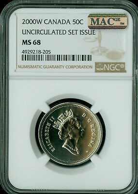 2000-W Canada 50 Cents Ngc Mac Ms68 Pq Solo Finest Graded Spotless *