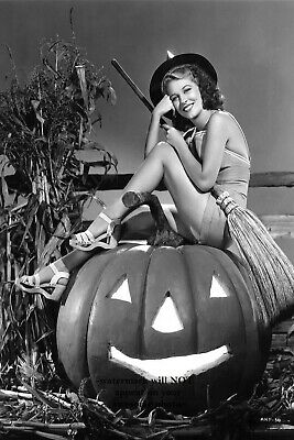 Sexy Witch PHOTO Vintage Halloween Pumpkin Freak Scary Pin-up Girl Good Witch