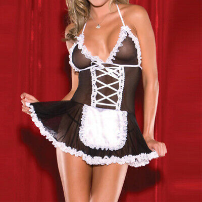 Costume Donna Lingerie Francese Sexy Cosplay Cameriera Halloween Abito